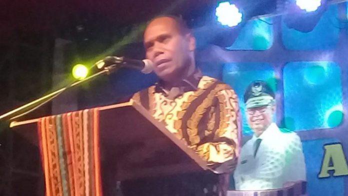 Bupati Alor Drs. Amon Djobo sambutan di Expo, Senin (16/9/2019) di Kalabahi.