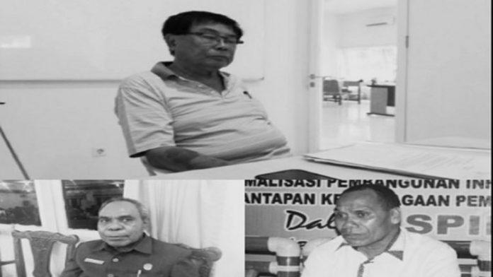 Foto: Bos PT. Ombay Sukses Persada Enthon Jodjana (atas), Bupati Alor Drs Amon Djobo (kiri) dan Ketua DPRD Martinus Alopada (kanan).