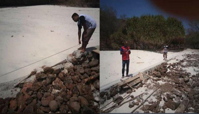 Tim KC DKP NTT Wilayah Alor investigasi proyek Tambatan Perahu di Ling'al Desa Halerman, Senin (20/11) pagi. (Sumber: FB Kcdkp Ntt Alor).