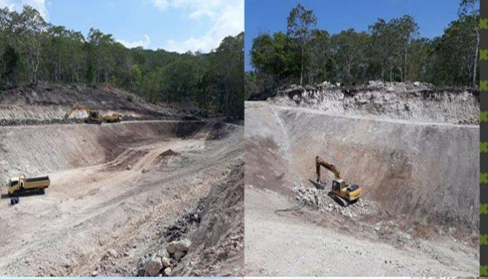 Proyek pembangunan dua embung di Kecamatan Kabola. (Sumber: Akun Facebook Deni Padabang).