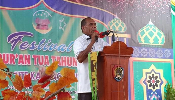 Bupati Alor Drs. Amon Djobo, pidato di acara pembukaan Festival Al-Qur'an Tua, Kamis (30/7/2020) di Desa Alor Besar.