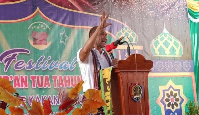 Gubernur NTT Viktor Bungtilu Laiskodat berpidato di acara pembukaan Festival Al-Qur'an Tua di Alor Besar, Kamis (30/7/2020).