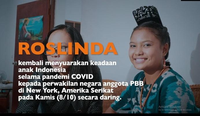 Roslinda (15), pelajar dari Kabupaten Sumba Timur, NTT yang berkesempatan menyampaikan suara anak Indonesia secara online ke perwakilan negara anggota PBB di New York, Amerika Serikat, Rabu (8/10).