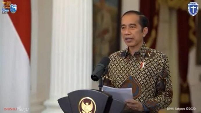 Presiden RI Ir. Joko Widodo buka Kongres GMKI XXXVII Papua Barat via zoom dari Istana Merdeka Jakarta, Selasa (24/11) siang.