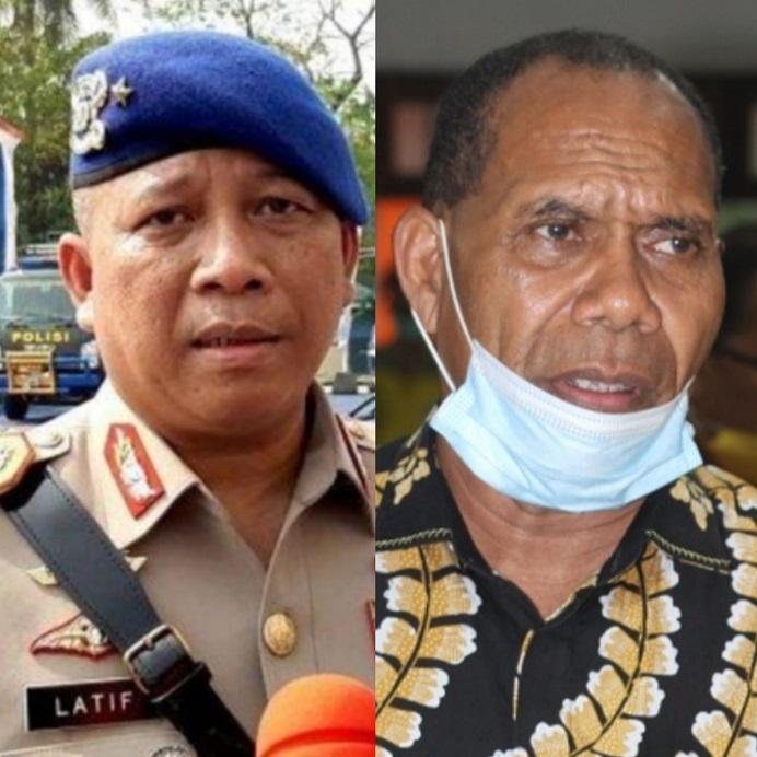 Kapolda NTT Irjen. Pol. Drs. Lotharia Latif (kiri) dan Bupati Alor Drs. Amon Djobo (kanan).