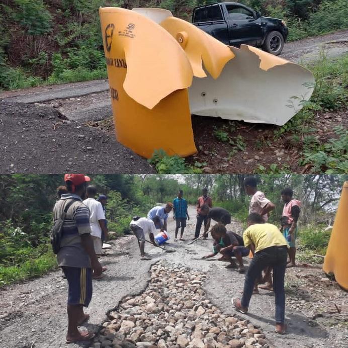 Tandon penampung air 2300 liter (gambar atas) yang dipakai Pemuda PPLTRI mengecor jalan rusak di desa itu, dirusak orang tidak dikenal, Senin (7/12) di Lelahomi, Lakwati, Desa Luba, Kecamatan Lembur.
