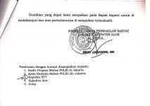 Copian halaman tiga surat yang diduga dibuat dan dikirim oleh Ketua DPRD Alor Enny Anggrek kepada Kapolri Jenderal Idham Azis di Jakarta pada tanggal 4 November 2020.