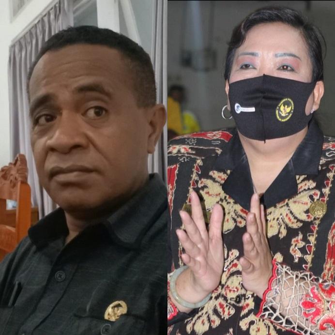 Foto: Ketua Badan Kehormatan DPRD Alor, Sony Magangsau (kiri) dan Ketua DPRD Alor Enny Anggrek (kanan).