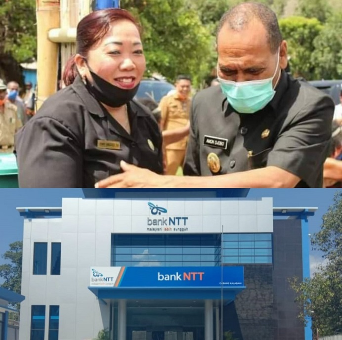 Keterangan Foto: Ketua DPRD Alor Enny Anggrek (kiri) dan Bupati Alor Drs. Amon Djobo (gambar atas). Gambar bawah; Kantor baru Bank NTT Cabang Kalabahi yang berada di Kalabahi Kota.