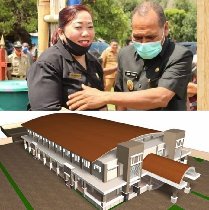 Keterangan Gambar: Ketua DPRD Alor Enny Anggrek dan Bupati Alor Drs. Amon Djobo (gambar atas) dan ilustrasi desain gedung Serbaguna. (Sumber Foto: olnewsindonesia.com).