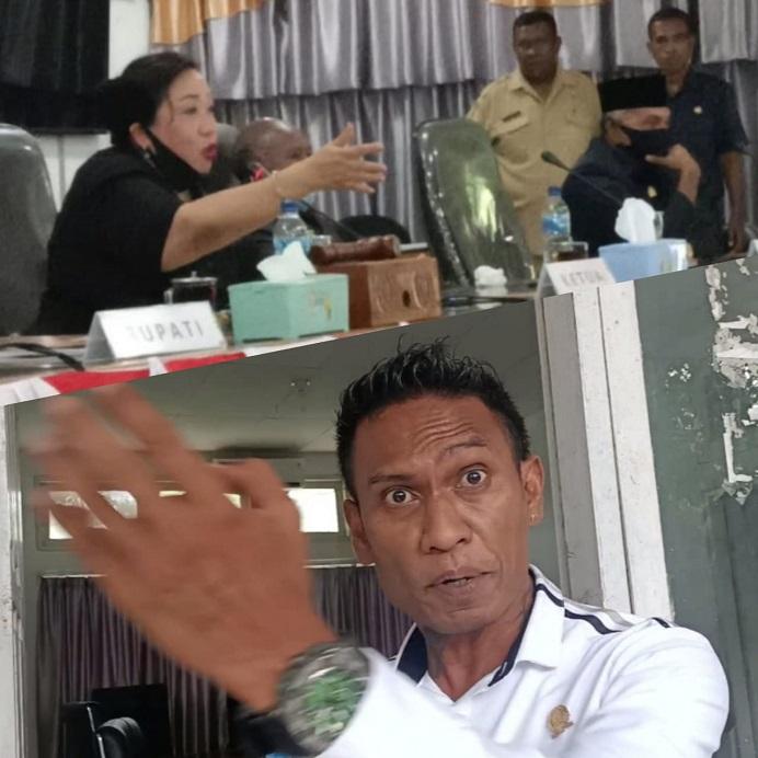 Ketua DPRD Alor Enny Anggrek (gambar atas) sementara memimpin sidang paripurna dan Dony Mooy (gambar bawah) ketika jumpa pers di DPRD usai sidang paripurna, Kamis (7/1/2021) di gedung DPRD Alor, Batunirwala.