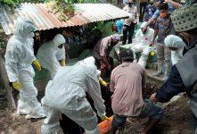 Jenazah Pasien Covid-19 dimakamkan di pekuburan keluarga di Kelurahan Binongko, sesuai protokol kesehatan, usai disholatkan di badan jalan umum, Kamis (14/1) siang.