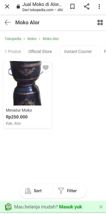 Moko Alor dijual di aplikasi tokopedia.com dengan harga Rp 250.000/Moko