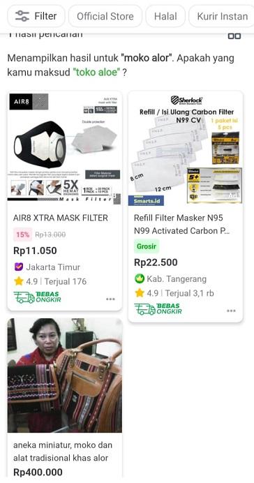 Aneka miniatur dan Moko Alor yang dijual di aplikasi tokopedia.com dengan harga Rp 400.000