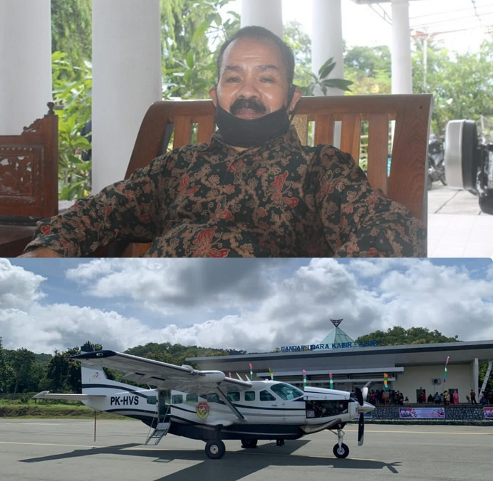 Gambar: Perintis Bandara Pantar Drs. Simeon Th. Pally (atas) dan Pesawat Demonim Air yang mengangkut rombongan Wagub NTT Joseph Nae Soi mendarat perdana di Bandara Pantar Kabupaten Alor, Sabtu (20/3/21).