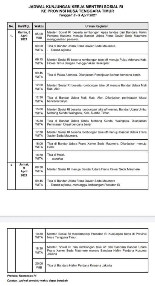 Jadwal Kunjungan Kerja Menteri Sosial RI ke Provinsi NTT pada tanggal 8-9 April 2021.