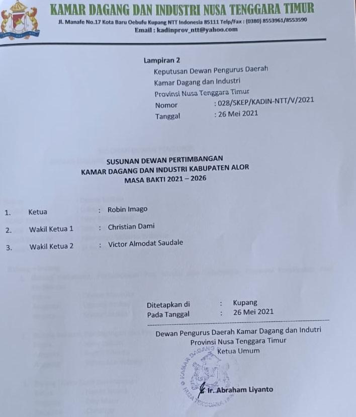 Lampiran SK Pengurus KADIN Alor Periode 2021-2026