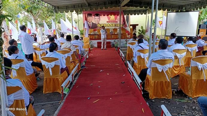 Acara serasehan partai Gerindra Alor yang dipandu Sekretaris DPD Gerindra NTT sekaligus Bakal Calon Anggota DPR RI Gabriel Beri Binna.